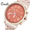 CLAUDIA 6 Colors New Women Men Luxury Stylish Fashion Stainless Steel Quartz Sports Watch Adjustable Pin