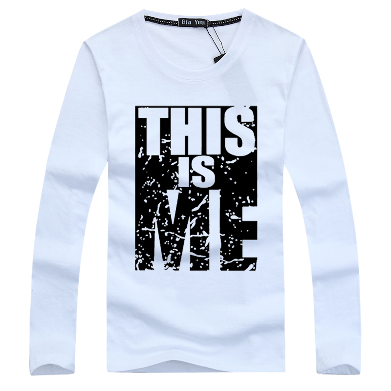 Port&Lotus Men T Shirt Cotton Long Sleeve Young Style Letter Printed Slim Fit Fitness Men Clothes 168 wholesale(China (Mainland))