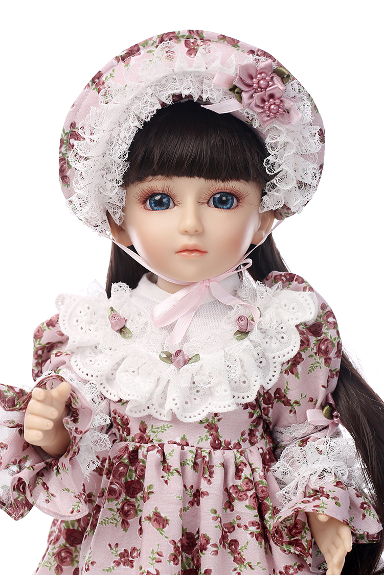 Фотография Very popular countryside girl doll beautiful SD/BJD doll 18inch top quality with full vinyl body for wedding gifts