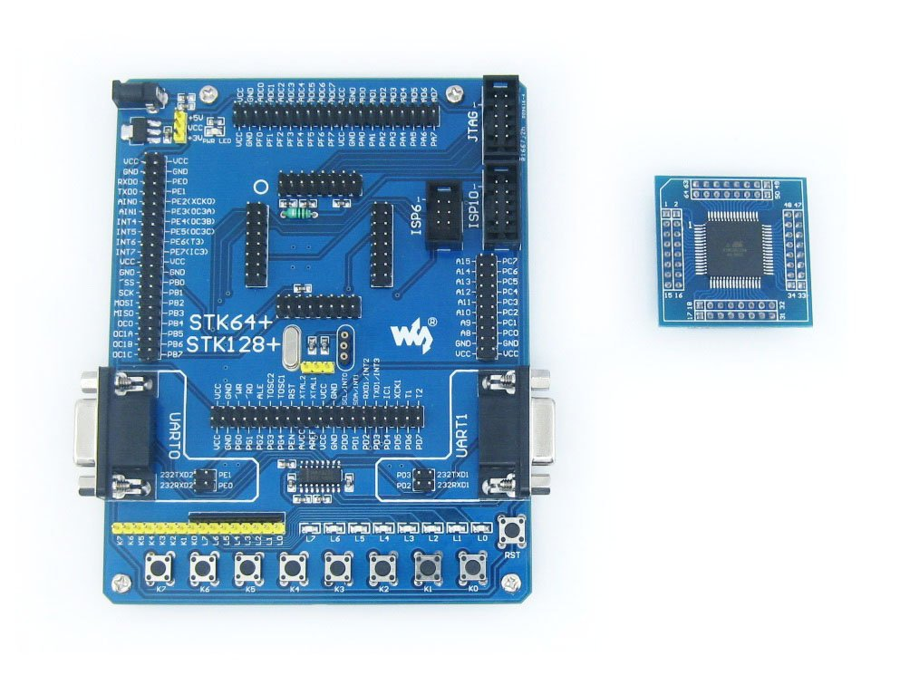 ATmega64 Board ATmega64A ATMEL AVR Development Board Kit + 2pcs ATmega64A-AU Cores = Waveshare STK64+ Premium Free Shipping(China (Mainland))