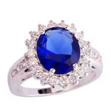 New Fashion Design Blue Sapphire Quartz 925 Silver Ring Size 7 8 9 10 Wholesale Free Shipping For Unisex Jewelry