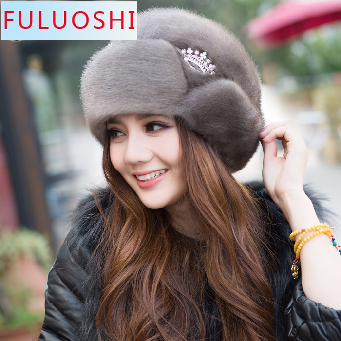 2015 Explosion Models  New Ms. Mink Fur Winter Women Hat Tassels Whole Mink Mink Millinery 1205