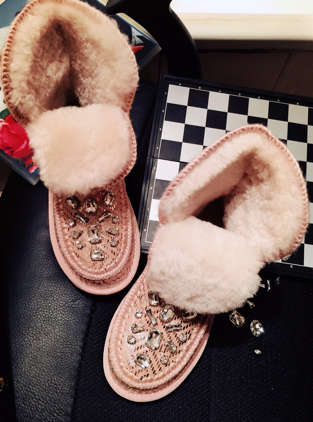 Details about women luxury diamond fashion snow boots rabbit fur boots - Autumn And Winter Classic Fashion Wild Style Australian Wool One Round Thick Round Bottom Diamond Warm