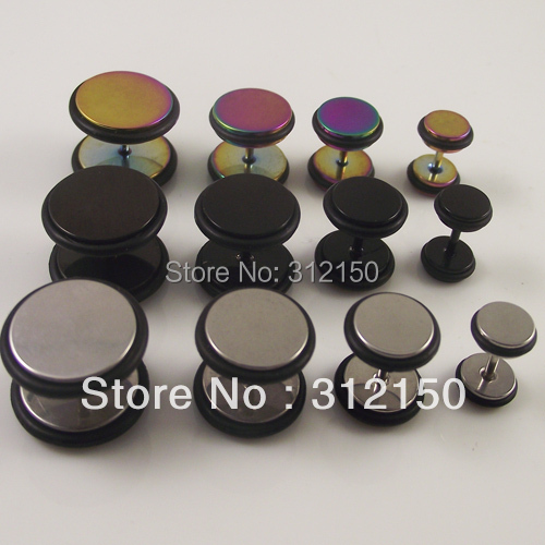 8 Stainless Steel Fake Ear Plug O-Rings,Screws expanders Earring Nail Taper tragus ring - Sun Supply Co.,Ltd store