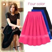 2016 Summer Skirts Women's Clothing Pleated Solid Chiffon short Tulle kilts European and American Style Hollow Out Knee-length