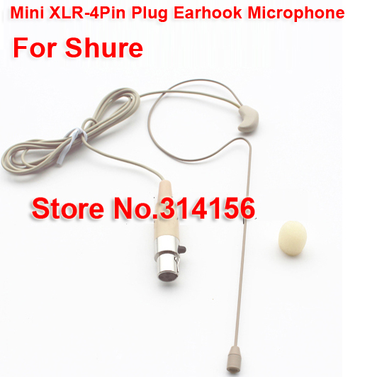mini xlr 4pin microphone for shure invisible earhook microphone use for stage teaching