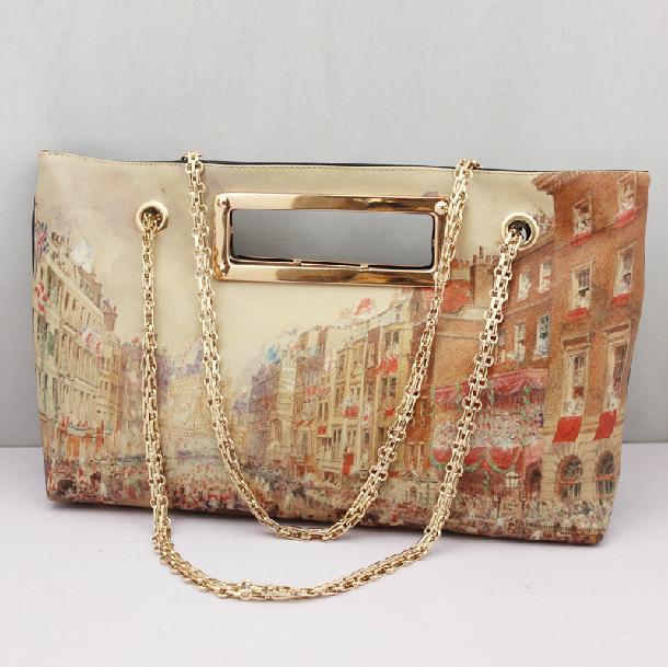 2015 Fashion London doodle oil painting women bag print one shoulder bags Vintage female bag designer handbags high quality(China (Mainland))