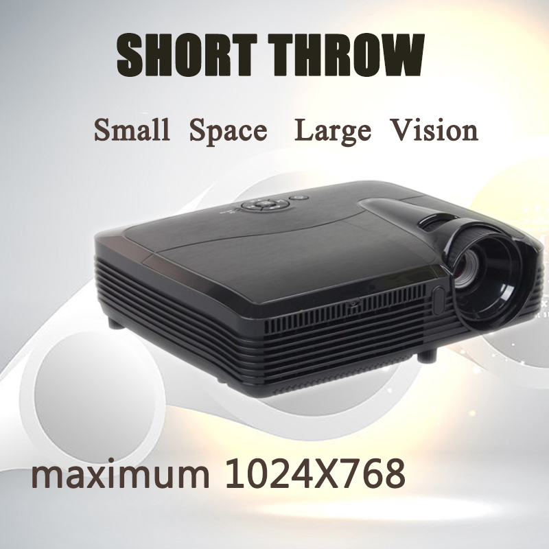 Short throw DLP projector with replaceable bulb 1024x768 resolution7500 lumens 15000:1 ratio HDMI VGA 300'' big screen showing(China (Mainland))