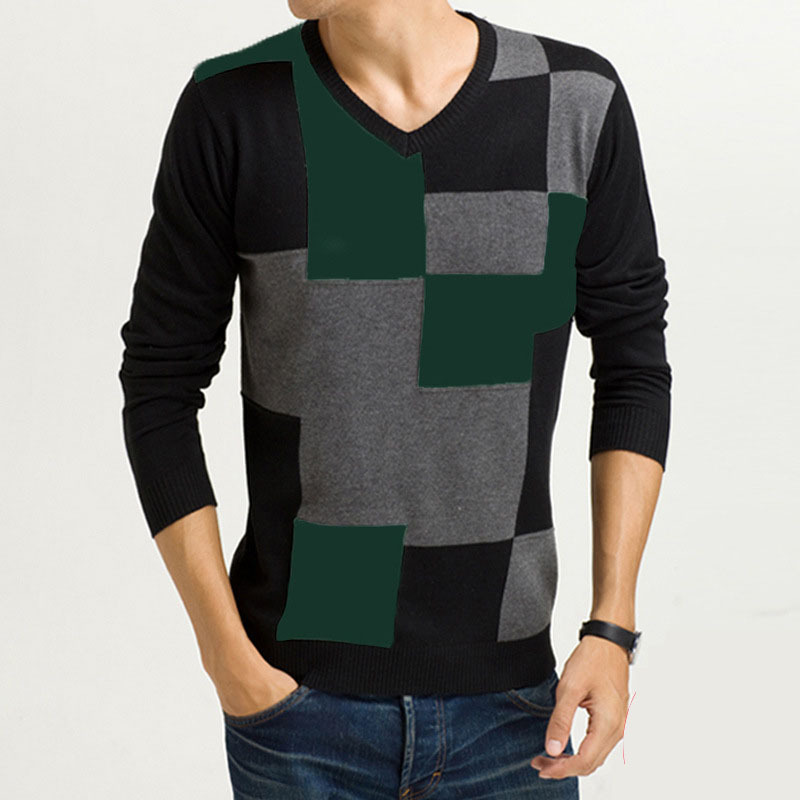 Sweater fashion and pullover brand v neck men sweater for Mixed plaid shirt mens