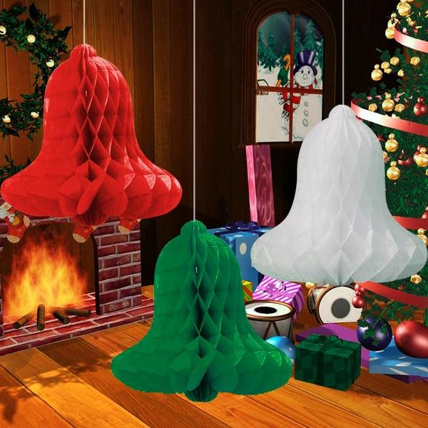 10pcs Decorative Jingle Bell Paper Honeycomb Bells Tissue Paper Bells Christmas Bell Decoration ...
