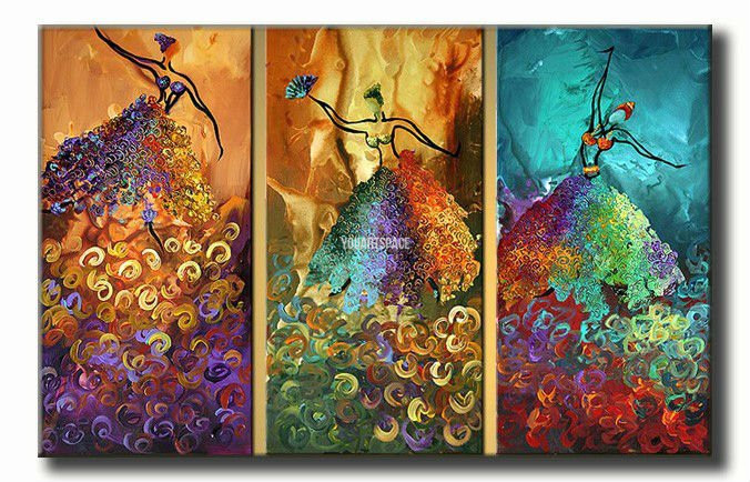 3 piece wall art peacock abstract dancers dance large for 3 piece paintings