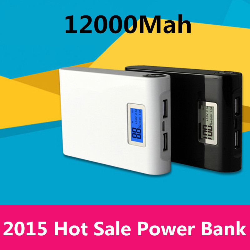 Power bank 12000mAh 2 USB backup Powerbank LCD Portable charge Universal 18650 external battery for Mobile phone Free shipping(China (Mainland))
