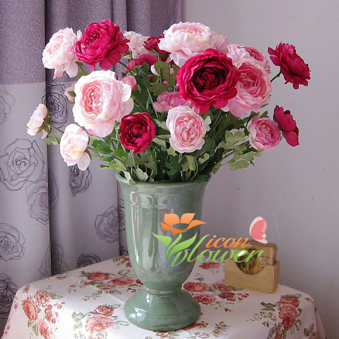 1 2PCS( 3 flower heads) Beautiful Artificial Fake Peony Lotus Flowers Bouquets Silk Flowers Home Decoration 8Colors Available(China (Mainland))