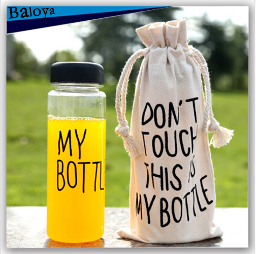 My bottle with gift bag korea style plastic water bottle sport lemon juice cicycle cup drinkware with word 500ml(China (Mainland))