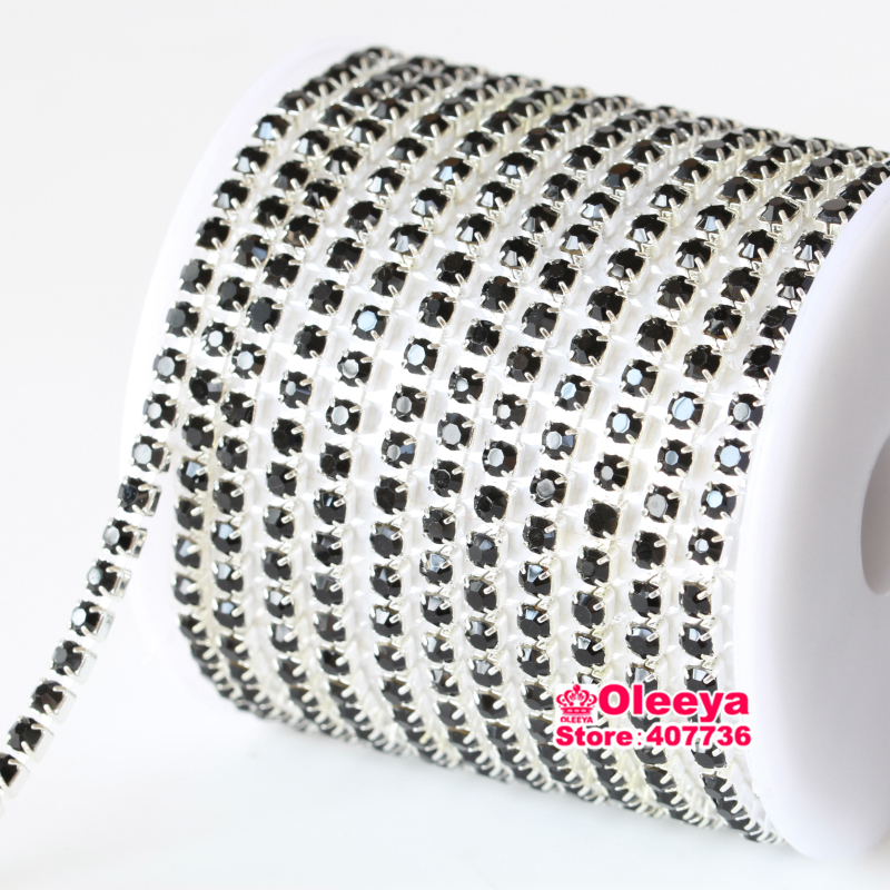 ss12 Black Jet Rhinestone Cup Chain 10 yards /roll Silver Base Close Claw Rhinestones Trimming For Party Dresses Y2976(China (Mainland))