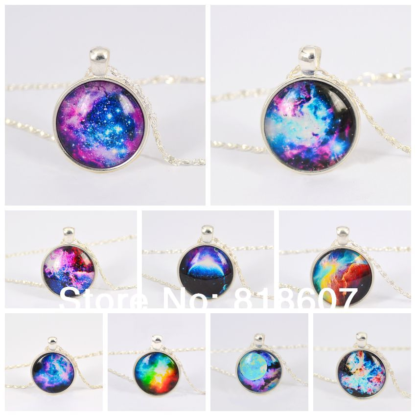 Hot Sales Vintage Necklace Galaxy Glass Pendant Silver Plated Chain Necklace Wonderful Gift(China (Mainland))