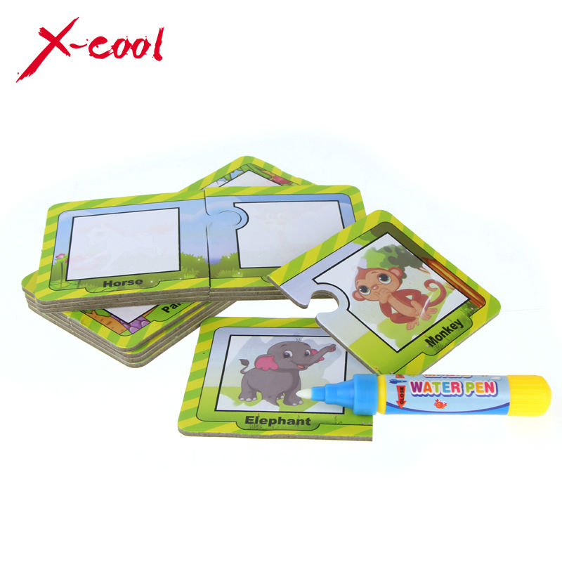 Water Magic Drawing graffiti Animals card enlighten stationery with 1 Magic Pen Cognitive Painting Board Educational kids Toy(China (Mainland))