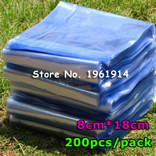 """Free Shipping 200Pcs 3.1""""x7.1"""" ( 8x18cm) Soft Transparent PVC Heat Shrinkable Bags Film Wrap Cosmetic Packaging Wrap Materials(China (Mainland))"""