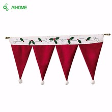 Door Window Drape Panel Christmas Decorative Curtain Home House Decorations for Xmas Party New Year Santa Claus Hat Cap Valance(China (Mainland))