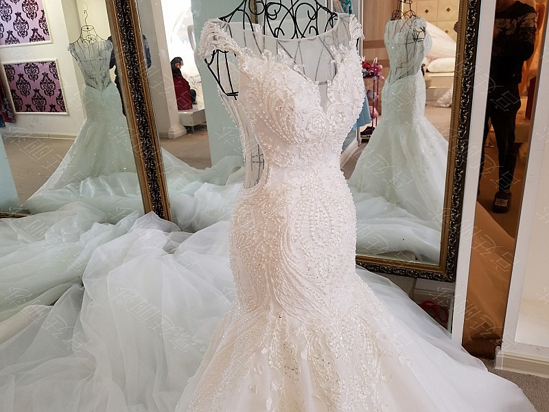 LS17006 Sexy mermaid wedding dress see through back cap sleeves tulle lace wedding gowns 2017 robe de mariee sirene 11