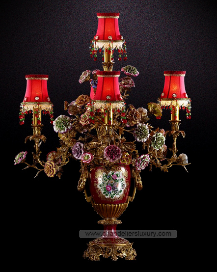 High quality oriental table lamps 5 Lights Bronze Table Lamps red crystal antiqued bronze Finish(China (Mainland))