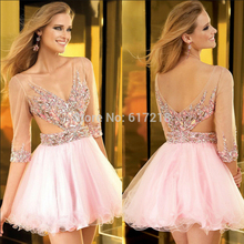 Free Shipping Sexy Mini A-Line V-Neck Half Sleeves Crystal Short Pink Elegant Cocktail Dresses/Party Dress(China (Mainland))