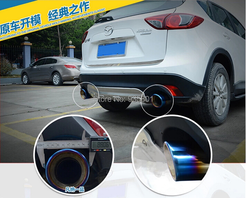 Chrome 304 Stainless Steel Exhaust Tip Tail Pipe Muffler MAZDA CX-5 CX5 2012-2015 End Pipes Exterior Accessories Car Styling - Ling-ling's Store store