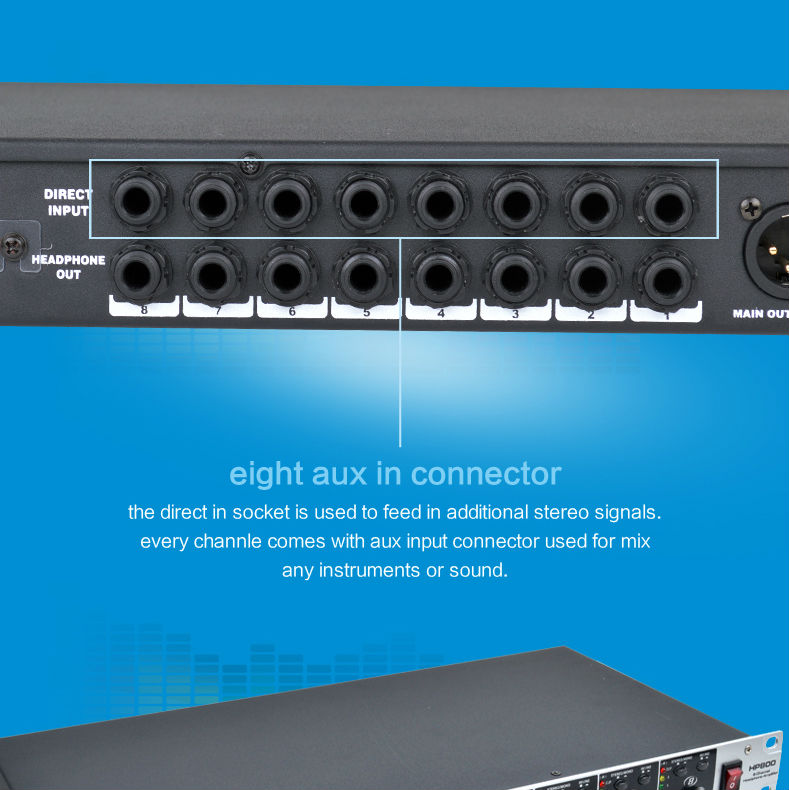 Alctron HP800 Professional 8 Channel multifunctional Headphone Preamplifier, Headphone Amplifier,Pro Headphone Amplifier