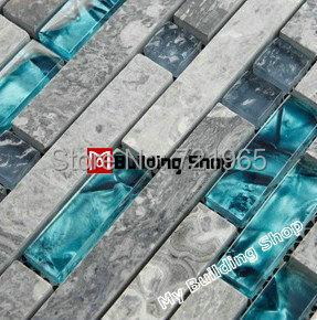 Blue glass wall mosaics grey stone glass mosaic tile backsplash SGMT026 bathroom wall tile glass mosaic kitchen tiles backsplash(China (Mainland))