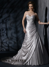 Sweetheart Short Train Elastic Silk Long A-line Wedding Dress Long Train 2016(China (Mainland))