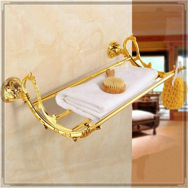 New arrival Shipping!Bathroom Accessories Classic Golden Brass Bathroom Towel Rack Bar Shelf (Wall Mounted) ZP-9360 tap bathroom(China (Mainland))