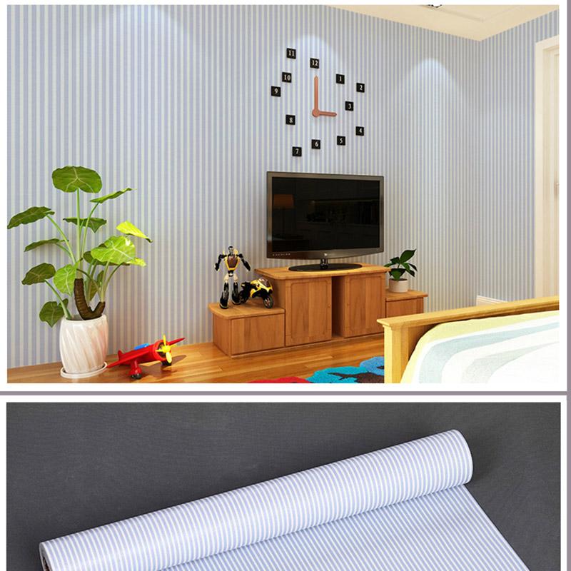 PVC waterproof Wallpaper shop home Decorative pattern stripe print 45cm-width Simple Self-Adhesive living room Wallpaper(China (Mainland))