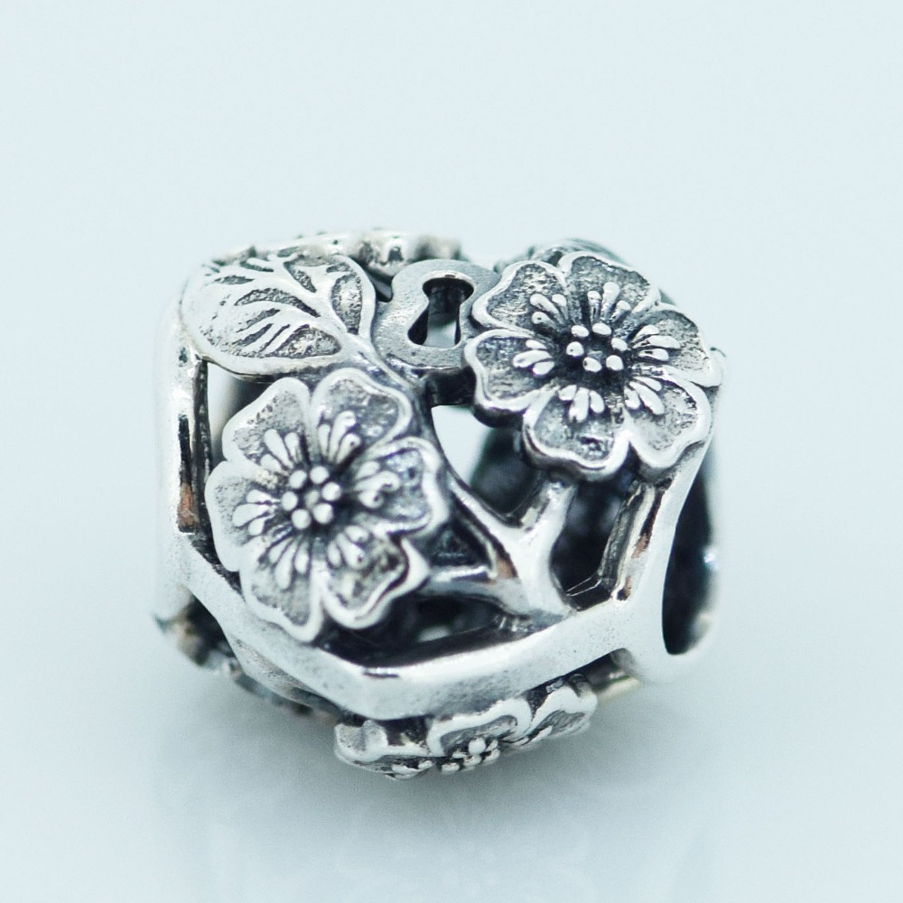 Openwork Floral Heart Padlock Silver Charm