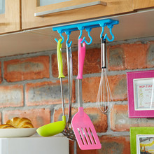 Six hooks candy-colored cabinets kitchen cabinets wall cabinet following a swinging hook wall hook cabide hanger(China (Mainland))