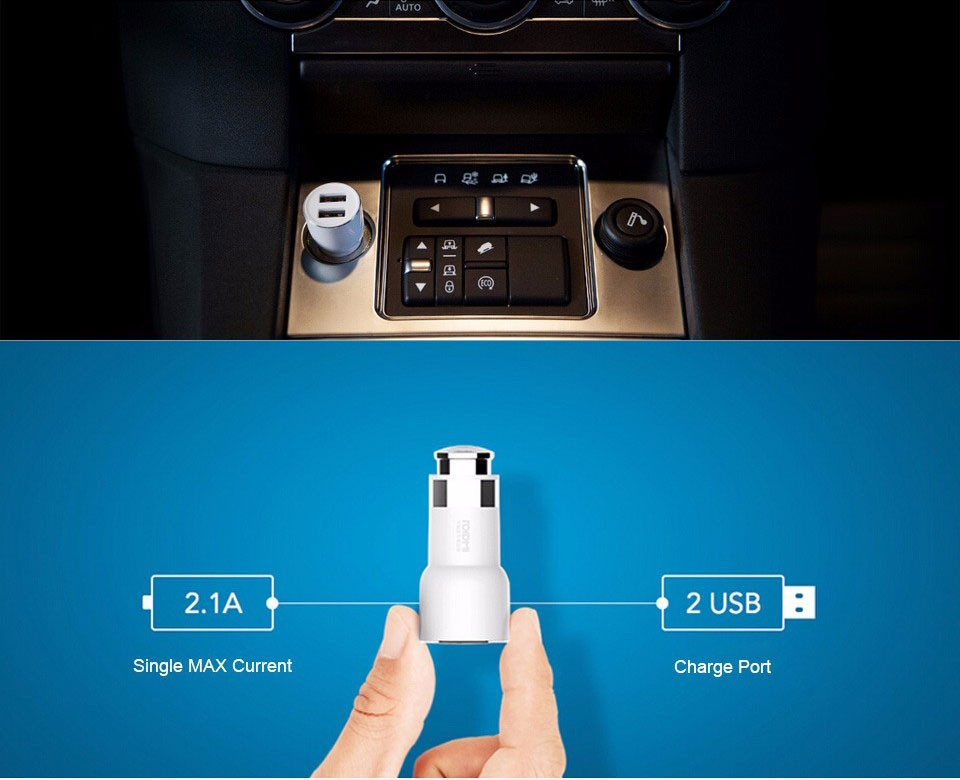 Original Xiaomi Roidmi Bluetooth USB Car Charger 5V/3.1A 2 USB Port Hi-Fi Receiver Android 4.0 Navigation Broadcast Fast Charge