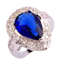 Exalted Vogue Rings Pricey Sapphire Quartz  Silver Ring Water-Drop Measurement 6 7 eight 9 10 Wholesale Free Shipping Rings