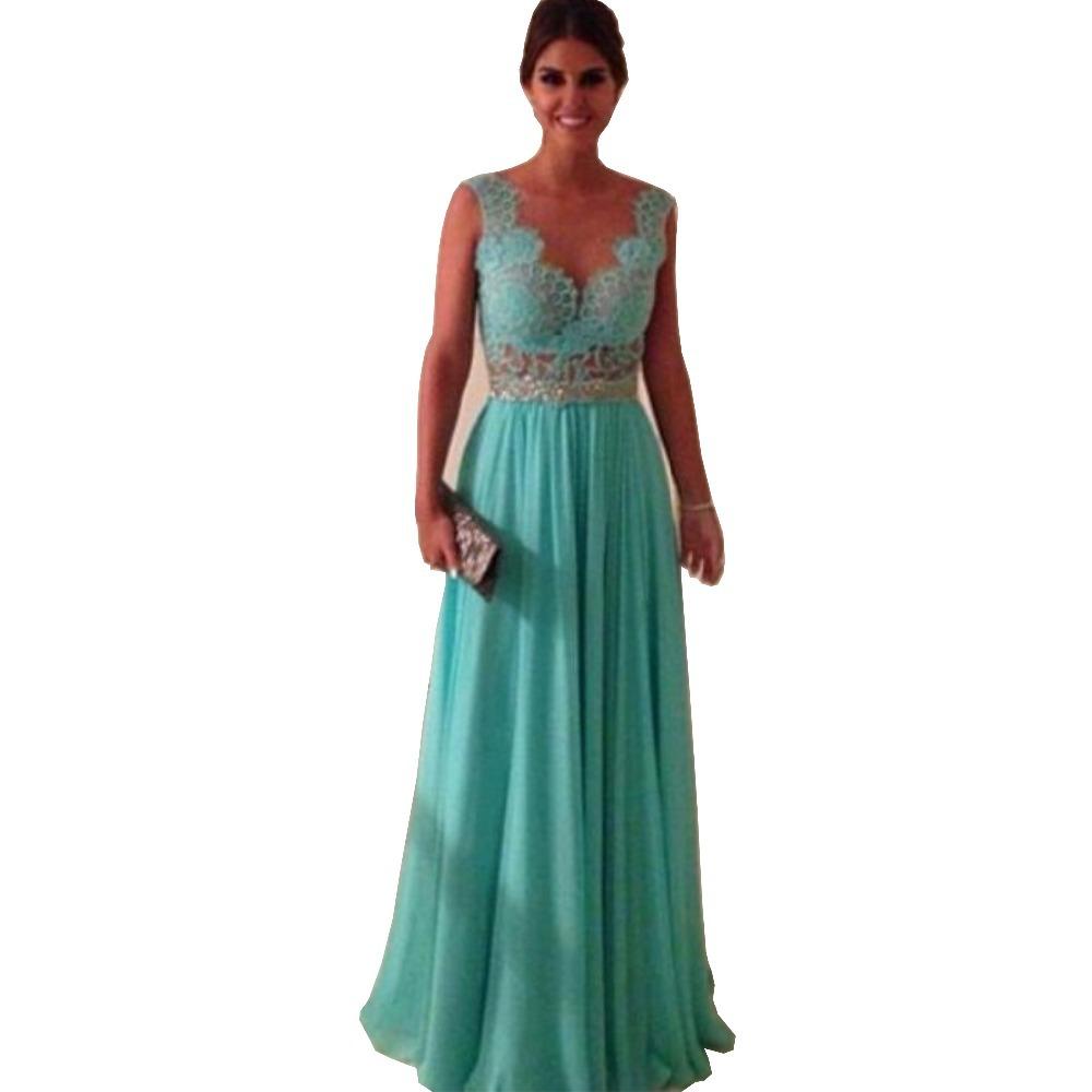 V neck sleeveless floor length long prom dresses 2015 for Formal dresses for weddings cheap