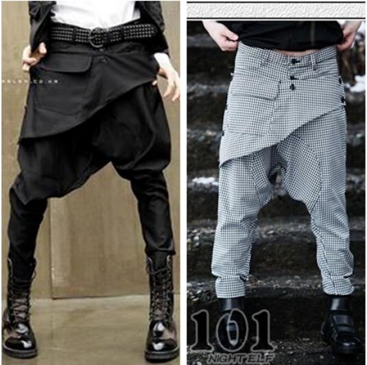 High Quality Fashion Design Hot Designer Black Mens Harem Drop Crotch Pants Sweatpants Trousers Men(China (Mainland))