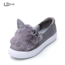 Creepers Hot Sale Sweet Heart Slip On Women Flats Shoes 2015 Spring Autumn Rabbit Ears Canvas Fashion Casual Girls Flats D0918(China (Mainland))