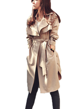 2015 New Fashion Spring Autumn Women Trench Coat Long Outwear Plus Size Waist Slim Trench Coat for Women With Belt Spring Coat