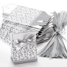 50x Boite a Dragee Accessoire Mariage Decoration Table Bapteme Fete Fleur Argente free shipping