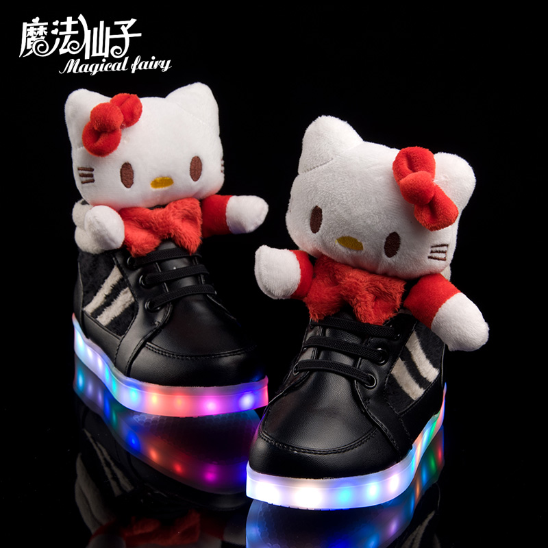 2015 new fashion Child lighted shoes kitty girls baby bling lamp belt colorful USB chargeable LED luminous shoes SIZE 26-37 pink<br><br>Aliexpress
