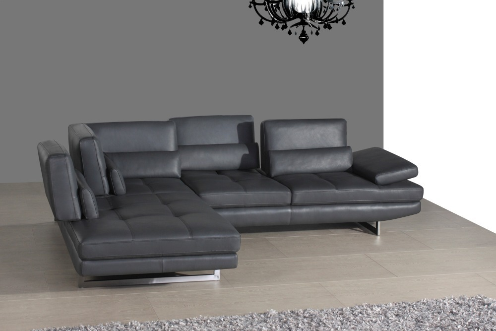Designer top graded real genuine leather corner sofa suite for Sofas modernos en l