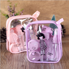 Hot Sale Cute Pink Travel Cosmetic Bottle Suit Pressed Bottle Spray Cream Refillable Bottles Makeup Tool Sets with mirror New(China (Mainland))