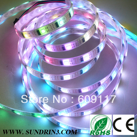 individually addressable led strip+50M/lot free shipping DC5V 32led/m+digital led strip ws2801+controller+2801IC+nonwaterproof