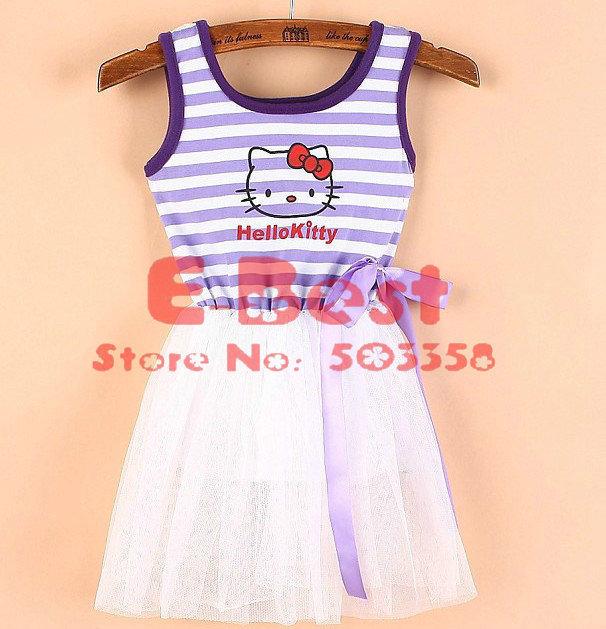 New Arrival!!4pcs/lot Cartoon Hello Kitty dress, Baby Girl Cute vest design dress,Summer wear