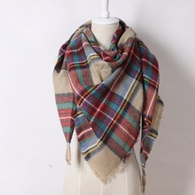 EOL Brand Exclusive Sales Cashmere Desigual Triangle Scarf  Pashmina Shawl Tassels Plaid Fashion Warm Winter For Women OL088(China (Mainland))
