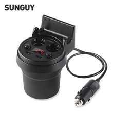 SUNGUY Cup Car Charger 5V 3A Dual USB Charger Car Voltage LED Screen Display 2 Car Cigarette Lighter Auto Car Charger Cup Holder(China (Mainland))