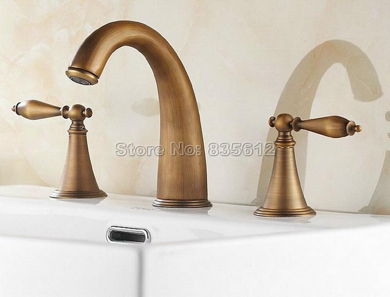 Widespread Antique Brass Gooseneck Style Bathroom Basin Faucet Classic Deck Mounted Dual