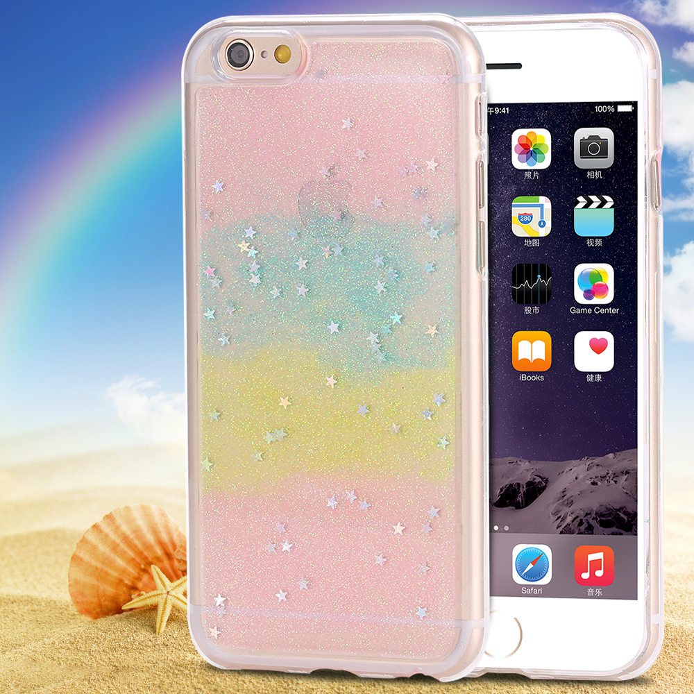 I6/6 Plus Bling Bling Soft TPU Case Star Cover For Iphone 6 4.7inch/5.5inch Plus Back Cover Cute Colorful For Gir's Girlfriend(China (Mainland))